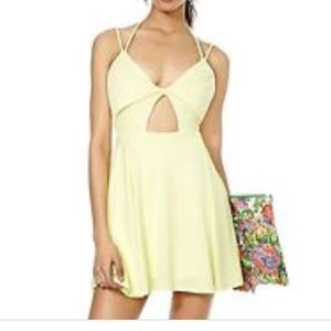 Nasty Gal Yellow cut out mini dress